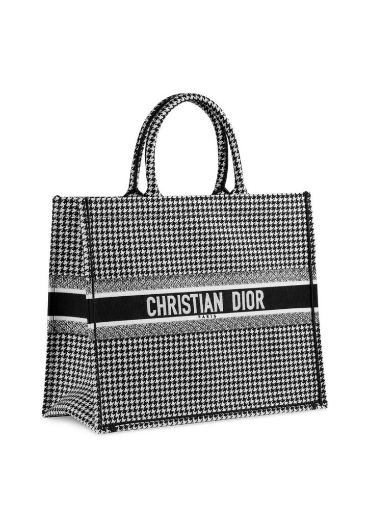 """""""Dior Book Tote"""" bag in black & white houndstooth check embroidered canvas. - HK$24,000"""