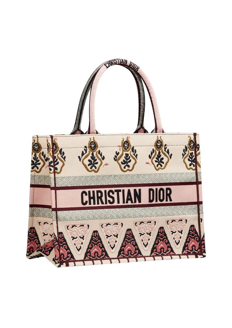 """Dior Book Tote"" bag in rose multicolor geometric embroidered canvas. - HK$21,500"