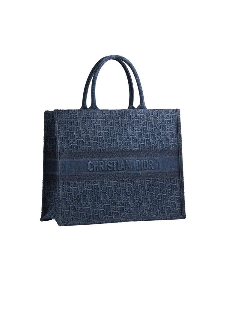 """Dior Book Tote'' bag in denim Dior oblique embroidered canvas. HK$ 24,000"