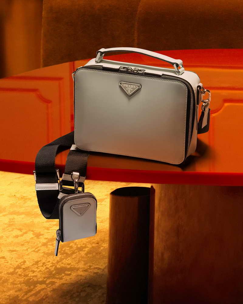 PRADA CNY CAMPAIGN PLATES BRIQUE SAFFIANO LEATHER CROSS-BODY BAG HKD16900