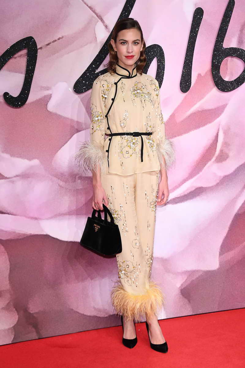 LONDON, ENGLAND - DECEMBER 05: Alexa Chung walks the red carpet for the British Fashion Awards 2016 on December 5, 2016 in London, England. (Photo by Venturelli/Getty Images)