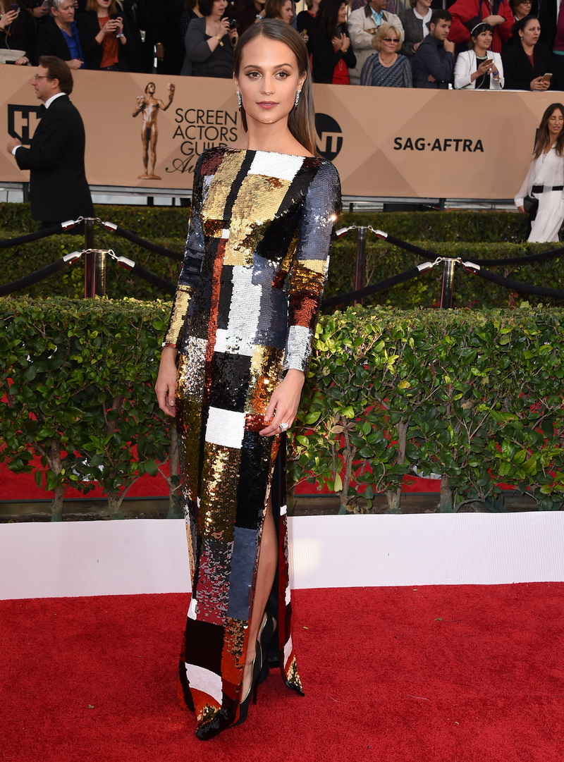 LOS ANGELES, CA - JANUARY 30: Alicia Vikander arrives at the 22nd Annual Screen Actors Guild Awards at The Shrine Auditorium on January 30, 2016 in Los Angeles, California. (Photo by Steve Granitz/WireImage)