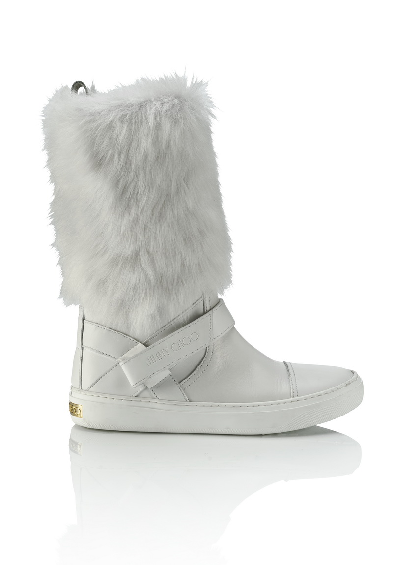 BURY FLAT- LEATHER WITH FUR- WHITE $12,800