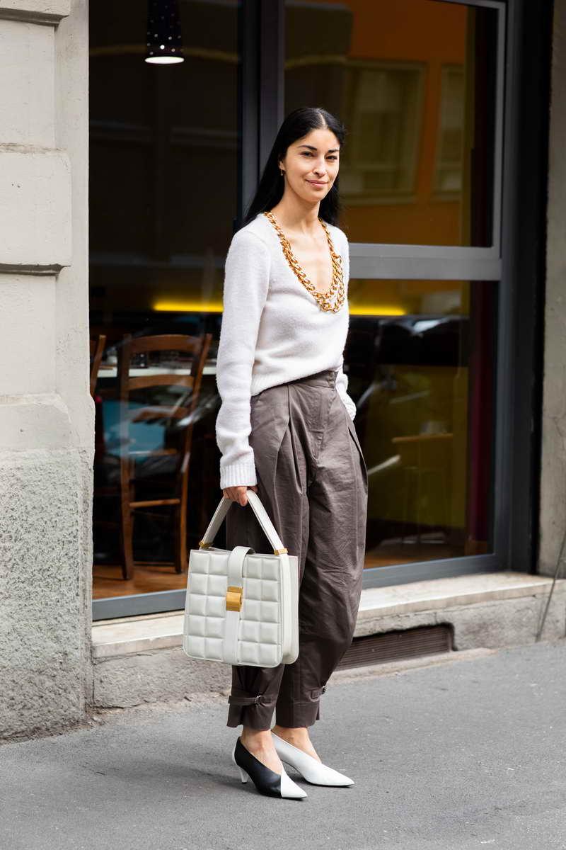 Bottega Veneta - 1 Caroline Issa wearing Fall 19 sweater and Marie bag_MFW0919