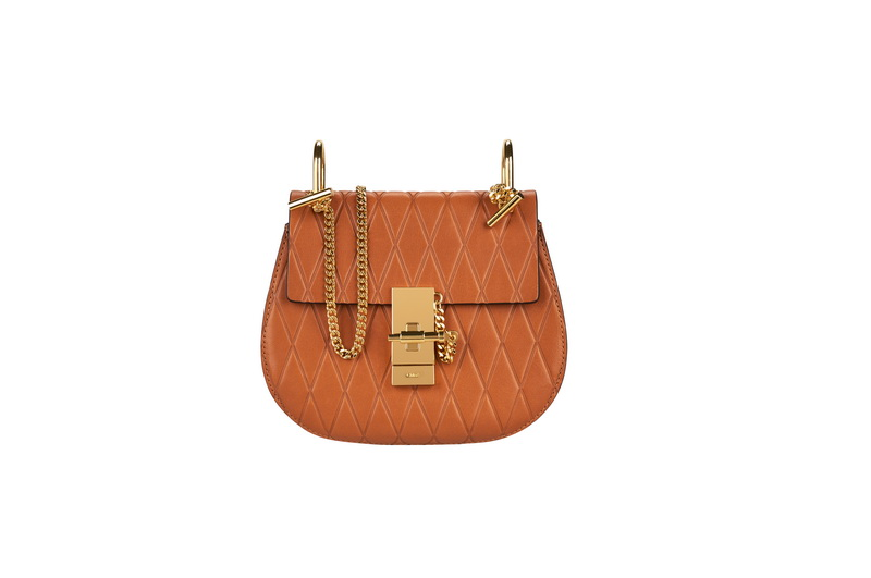 DREW Mini Saddle Bag in Caramel Diamond Embossed Smooth Calfskin