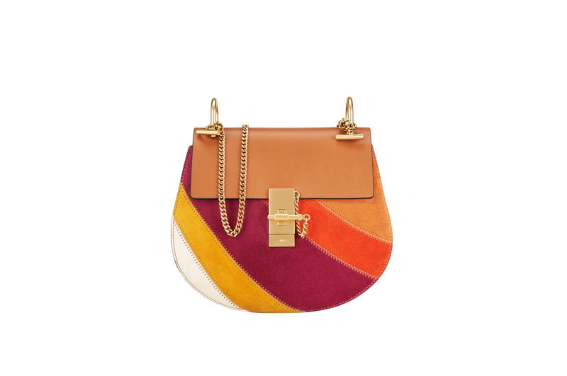 DREW Small Saddle Bag in Caramel Rainbow Patchwork in Suede Calfskin & Smooth Calfskin