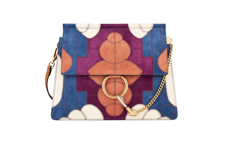 FAYE Medium Shoulder Bag in Classical Tobacco Flower Patchwork in Suede Calfskin & Smooth Calfskin
