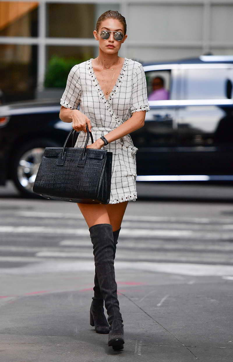 NEW YORK, NY - SEPTEMBER 05: Gigi Hadid seen on the streets of Manhattan on September 5, 2016 in New York City. (Photo by James Devaney/GC Images)