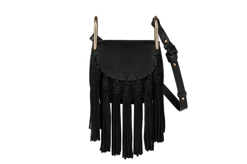 HUDSON Mini Shoulder Bag In Black Smooth Calfskin & Nappa Lambskin With Full Suede Tassels