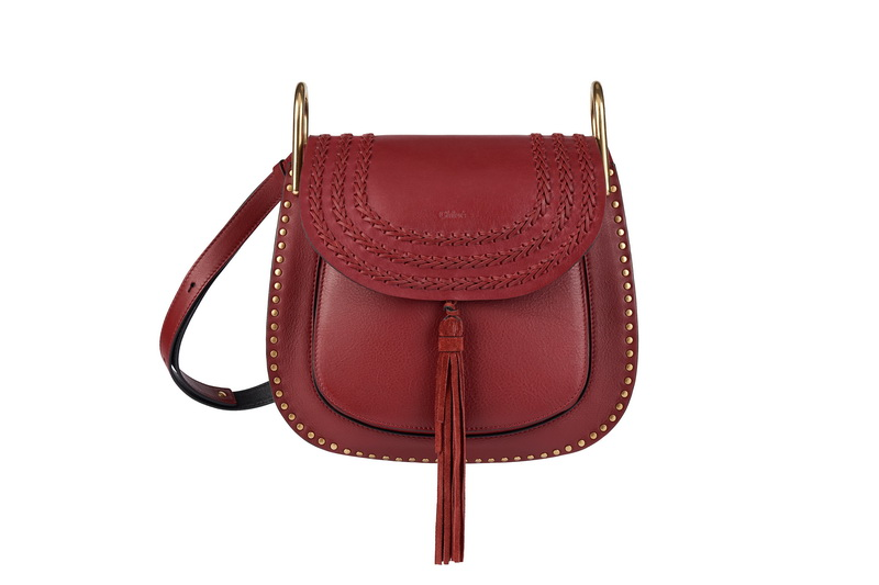 HUDSON Small Shoulder Bag In Sienna Red Smooth Calfskin & Nappa Lambskin With Braids, Studs & Suede Tassel
