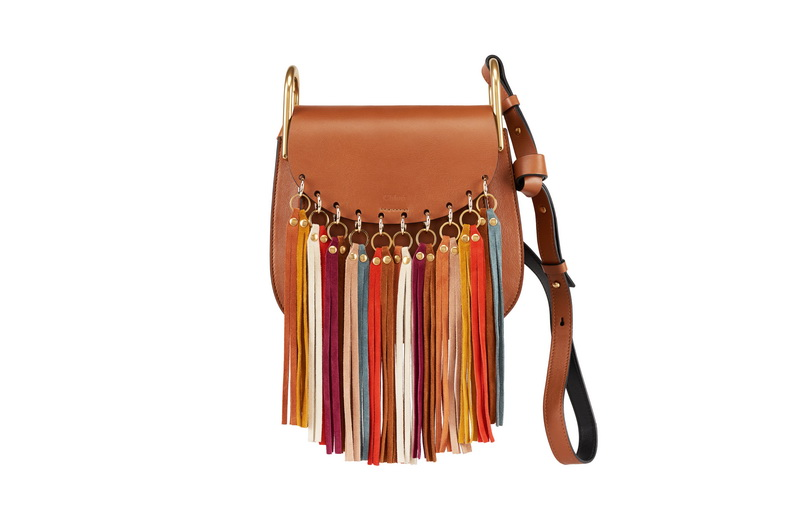 HUDSON Small Shoulder Bag in Caramel Smooth Calfskin with Multicolor Fringes in Suede Calfskin