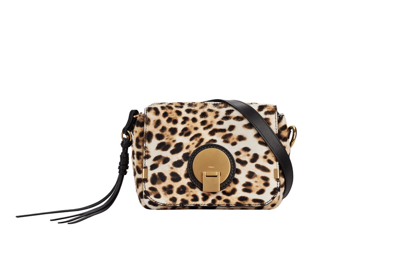 INDY Small Camera Bag in Abstract White Print Leopard Haircalf and Smooth Calfskin