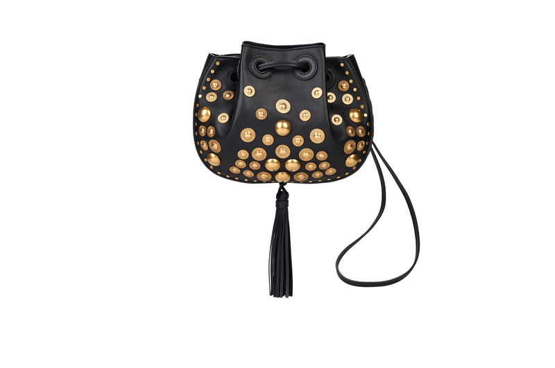 INEZ Small Drawsting Bag in Black Stud Embroidery on Nappa Lambskin