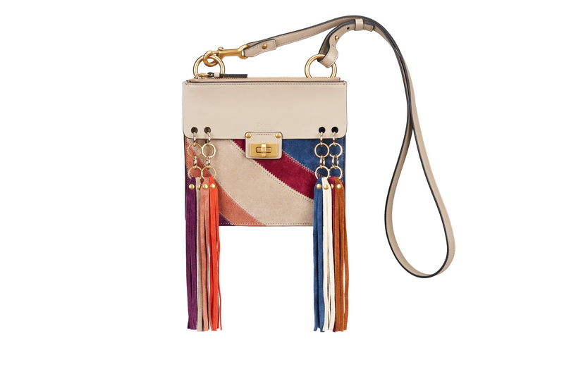 JANE Small Bag in Motty Grey Rainbow Patchwork in Suede Calfskin & Smooth Calfskin