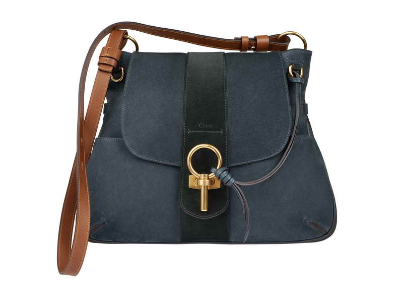 LEXA Medium Shoulder Bag in Silver Blue Suede Calfskin LEXA 銀藍色小牛麂皮手袋 HK$ 14,780