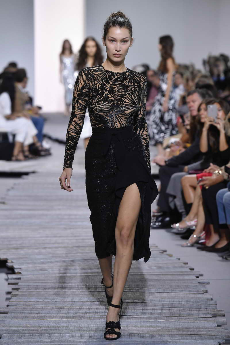 LOOK 68 BELLA SUNTAN STRETCH TULLE BODYSUIT WITH BLACK LEAF SEQUIN EMBROIDERY, BLACK STRETCH PEBBLE CREPE SCISSOR SKIRT WITH BLACK LEAF SEQUIN EMBROIDERY