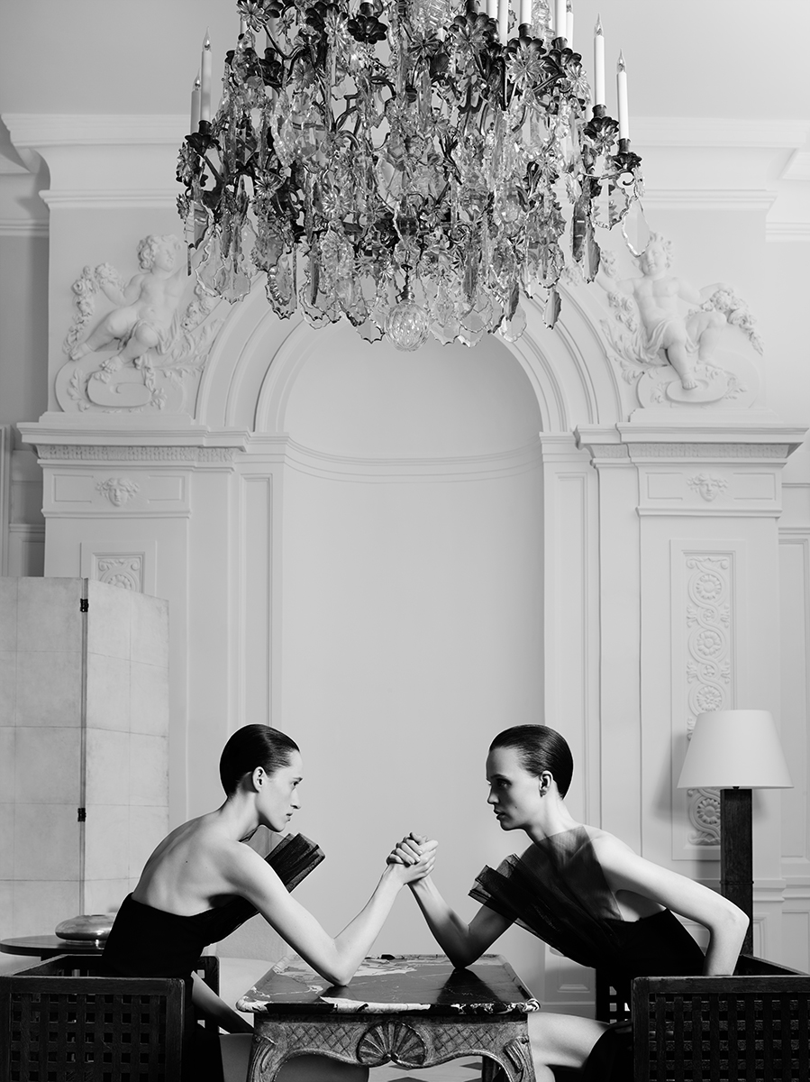 "Saint Laurent girls: Flo, Helena, Lida and boy Devon were shot in the garden and all the Yves Saint Laurent Salons for the Couture Campaign ""Université"". Flo and Helena / Maison Yves Saint Laurent / Salon d'Honneur / Louix XV table with ""grand statuaire"" marble top."