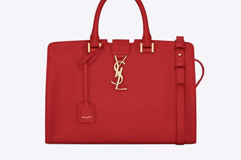 SMALL MONOGRAM SAINT LAURENT CABAS BAG IN RED LEATHER (394461_BJ50J_6422) HK$ 15,900