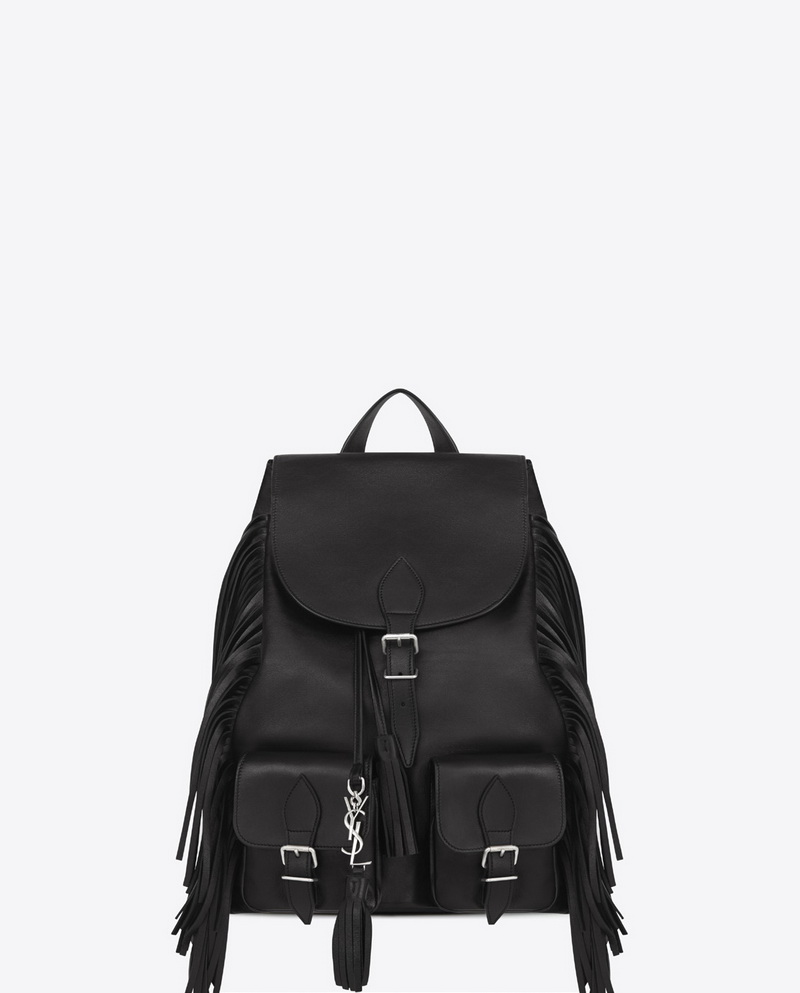 MEDIUM BACKPACK FESTIVAL IN BLACK VEGETAL GRUNGE LEATHER WITH FRINGES