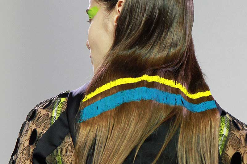 Hair trends 2018. Hand painted hair. Byblos SS 2018, hair: Adrian Clark. Ph. Mauro Pilotto