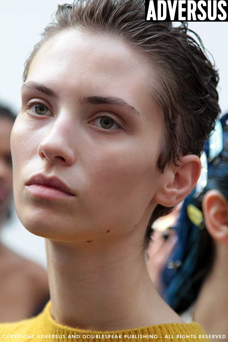 Wet hair looks at the MSGM Summer 2018 Milan Fashion Week - Hair James Pecis - Ph. Charlotte Mesman - Work in progress