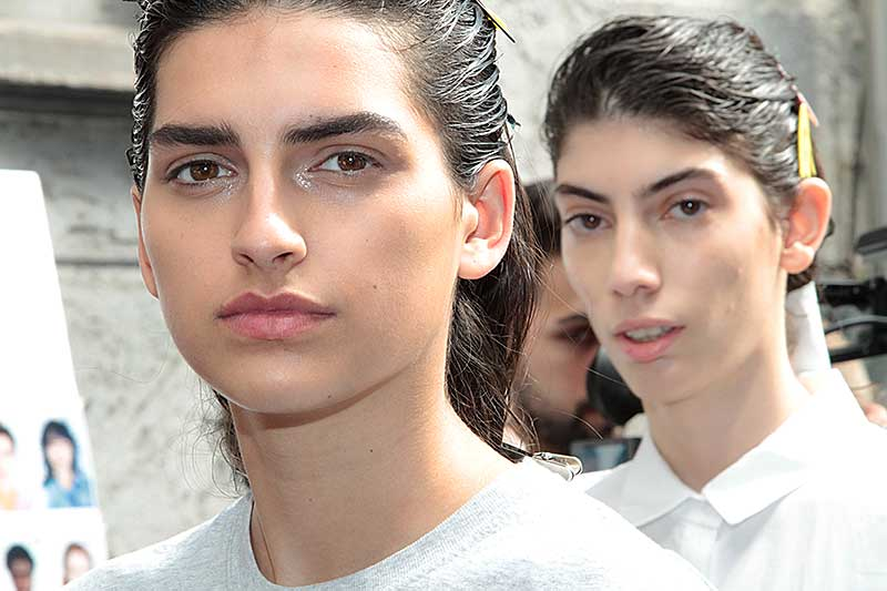 Wet hair looks at the MSGM Summer 2018 Milan Fashion Week - Hair James Pecis - Ph. Charlotte Mesman - Work in progress