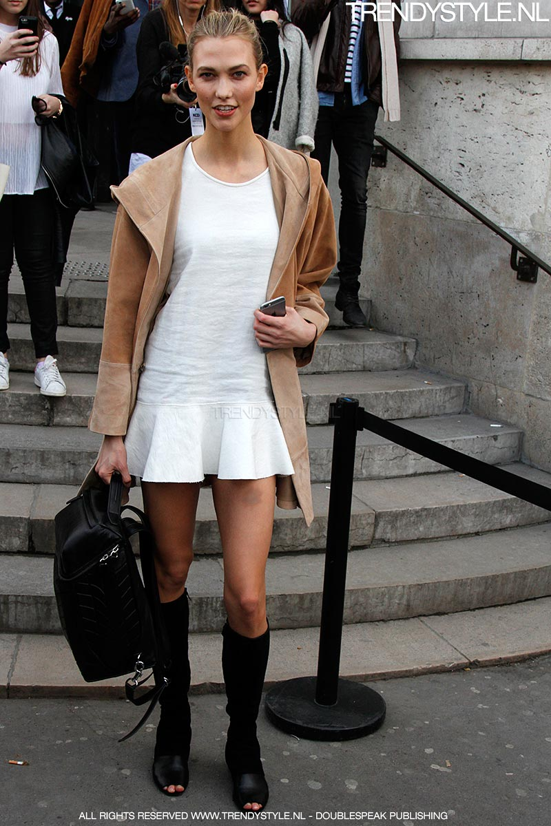 Super models Natasha Poly and Karlie Kloss streetstyle at the Isabel Marant Show in Paris