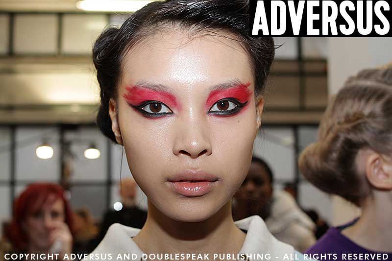 Red and black, punk sexy and beautiful makeup by Tom Pecheux for Antonio Marras