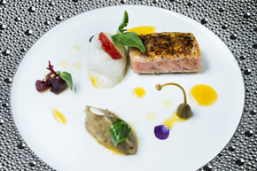 Seared Red Tuna with Fennel Pollen - Eggplant Salad, Tomato and Orange Dressing